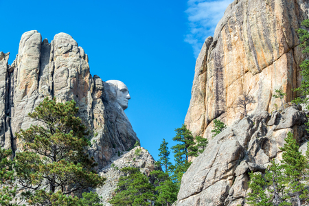 'mt rushmore': Profile view of George Washington at Mt Rushmore in South Dakota Editorial
