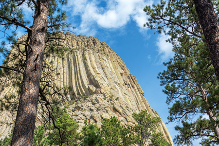 Closeup view of Devils Tower in Wyoming