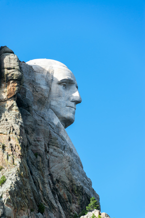 'mt rushmore': Vertical profile view of George Washington at Mt Rushmore