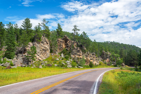south: Road in Custer State Park passing beautiful rock formations in South Dakota