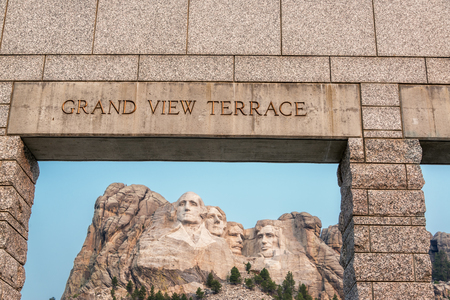 mount rushmore: View of Mount Rushmore National Memorial and the entrance to the Grand View Terrace