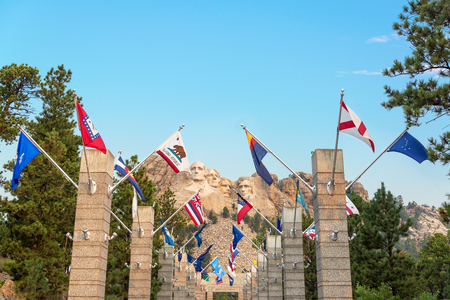 mount jefferson: Row of state flags leading to Mount Rushmore in Keystone, South Dakota