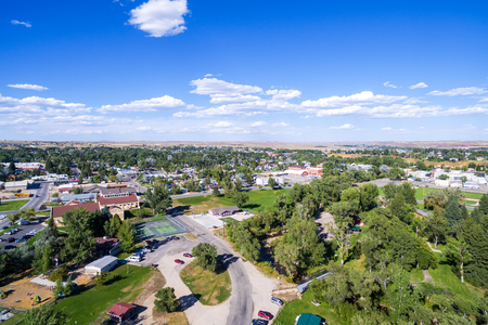 wyoming: Aerial view of Buffalo, Wyoming which is at the base of the Bighorn Mountains Stock Photo