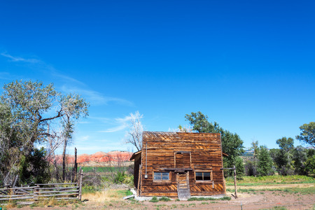 Old abandoned Wild West style building in Ten Sleep, Wyoming Stock Photo