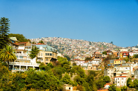bright paintings: Cityscape of the historic  city of Valparaiso, Chile Stock Photo