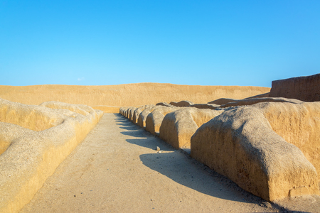 adobe: Ancient adobe walls of the Chimu city of Chan Chan in Trujillo, Peru