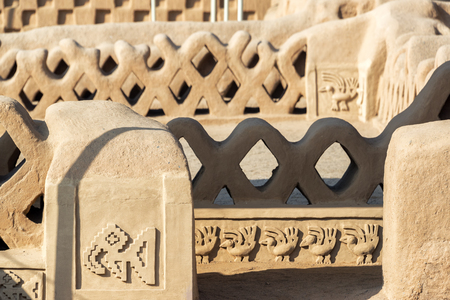 chan: Details of the stunning adobe architecture in Chan Chan in Trujillo, Peru Stock Photo