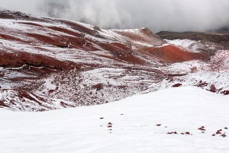 Cold snowy landscape on Cotopaxi Volcano in Ecuador