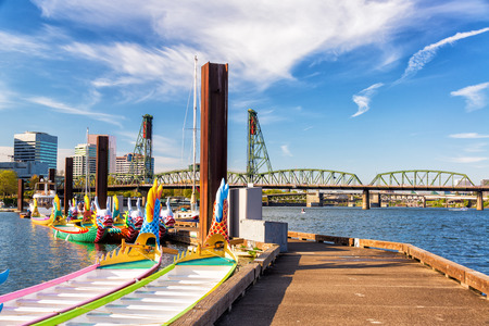 portland oregon: Dragon boats and the Hawthorne Bridge in downtown Portland, Oregon Stock Photo