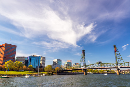 industrial park: View of downtown Portland, Oregon and the Hawthorne Bridge