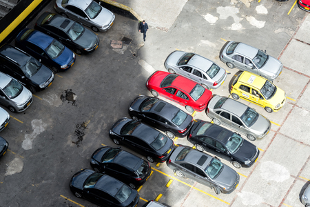 above 21: BOGOTA, COLOMBIA - APRIL 21: View from above a parking lot in Bogota, Colombia on April 21, 2016 Editorial