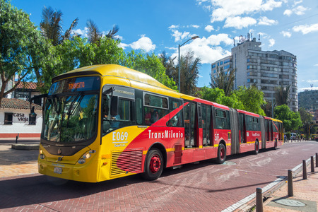 BOGOTA, COLOMBIA - APRIL 21: Transmilenio bus passes through downtown Bogota, Colombia on April 21, 2016 Editöryel