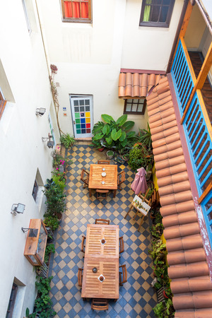 above 25: SANTIAGO, CHILE - MAY 25: View from above of an interior courtyard in Santiago, Chile on May 25, 2014 Editorial