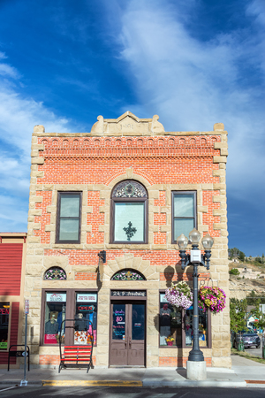 lodge: RED LODGE, MT - SEPTEMBER 8: Facade of a historic brick building in Red Lodge, MT on September 8, 2015 Editorial