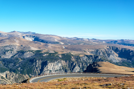 curving: Highway curving through the Beartooth Mountains in Montana, USA