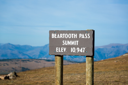 elevation: View of the Beartooth Pass Summit at an elevation of 10,947 feet above sea level Stock Photo