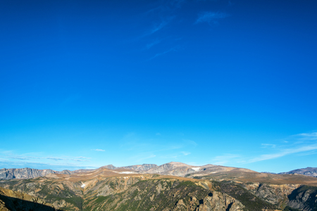 two and two thirds: View of the Beartooth Mountains in Montana with sky in the top two thirds of the picture