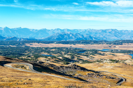 View of Shoshone National Forest in the Beartooth Mountains in Montana and Wyoming Stock Photo