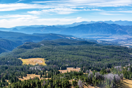 butte: View of forest and Absaroka Mountain Range from Clay Butte near Yellowstone National Park Stock Photo