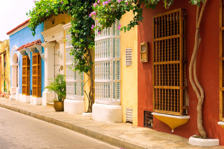 Street view of beautiful colonial houses in the historic downtown of Cartagena, Colombia