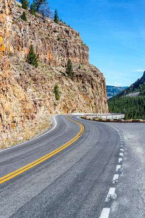 Vertical view of a road passing through a canyon near Mammoth Hot Springs in Yellowstone National Park