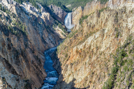 lower yellowstone falls: View of Lower Yellowstone Falls in Yellowstone National Park