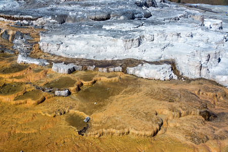 calcium carbonate: View of travertine terraces at Mammoth Hot Springs in Yellowstone National Park Stock Photo