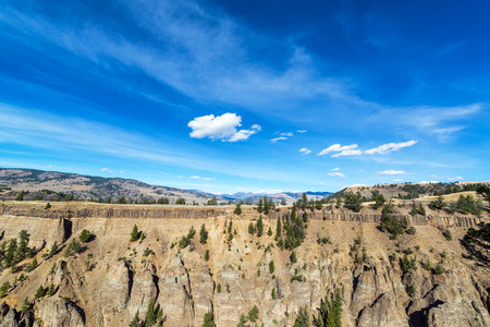 Dramatic landscape of the rim of a canyon in Yellowstone National Park