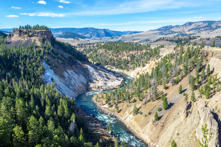 Yellowstone River passing through a canyon near Tower Fall in Yellowstone National Park Stock Photo
