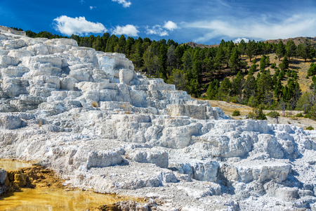 calcium carbonate: White travertine terraces in Yellowstone National Park at Mammoth Hot Springs Stock Photo