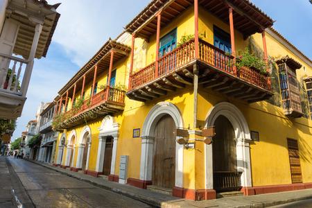 cartagena: Yellow colonial street corner in Cartagena, Colombia Stock Photo
