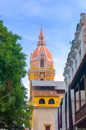 Vertical view of the pink tower of the cathedral in Cartagena, Colombia Stock Photo