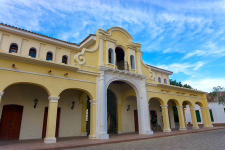 View of the renovated historic market in Mompox, Colombia Stock Photo