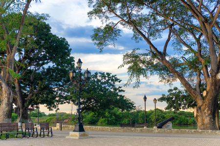 citylife: Park on the waterfront in Mompox, Colombia