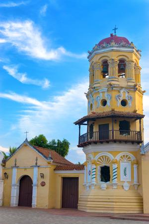 santa barbara: Beautiful tower of the Santa Barbara Church in Mompox, Colombia