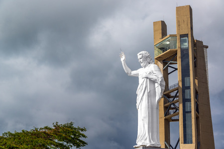 View of El Santisimo statue of Jesus Christ near Bucaramanga, Colombia Stock Photo