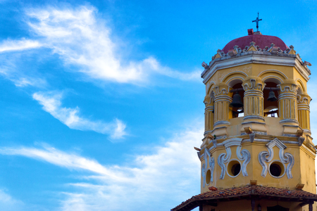 View of the spire of the Santa Barbara church in Mompox, Colombia Stock Photo