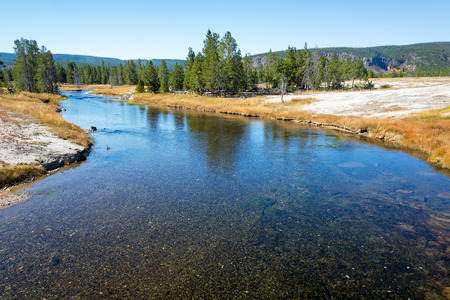 meanders: View of the Firehole River as it meanders through the Upper Geyser Basin in Yellowstone National Park