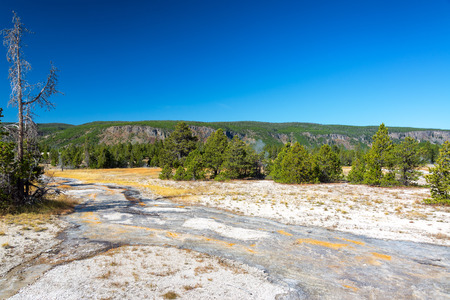Landscape and view of water runoff from Grand Geyser eruption in Yellowstone National Park