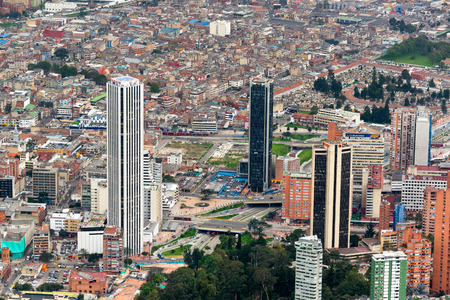 BOGOTA, COLOMBIA - APRIL 25: High angle view of downtown Bogota, Colombia on April 25, 2016