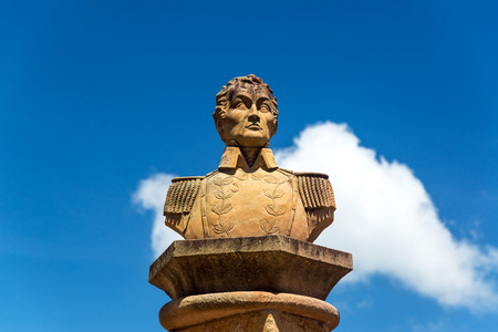 liberator: Bust of the liberator Simon Bolivar in the town of Barichara, Colombia Stock Photo