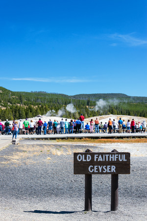 erupt: YELLOWSTONE NATIONAL PARK, WY - SEPTEMBER 11: Crowd waits for Old Faithful Geyser to erupt in Yellowstone National Park, WY on September 11, 2015 Editorial