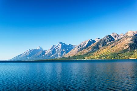 teton: Teton Range and Jackson Lake on a beautiful clear day in Grand Teton National Park