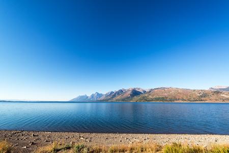 Wide angle view of Jackson Lake and the Teton Range in Grand Teton National Park Stock Photo