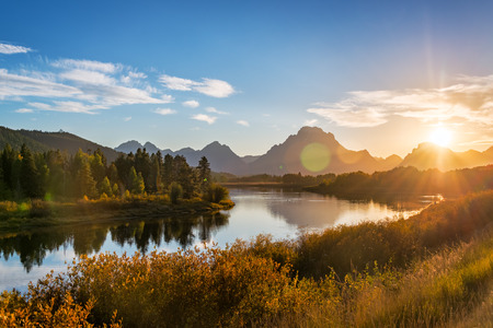 View of Snake River and Teton Range at sunset in Grand Teton National Park in Wyoming