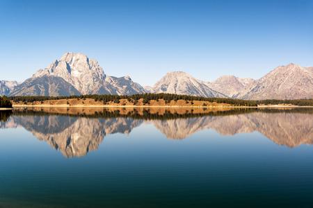 Beautiful reflection of the Teton Range in Grand Teton National Park Stock Photo