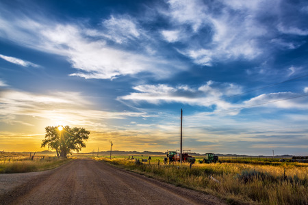 farm implements: Sunrise in rural Wyoming near the town of Buffalo