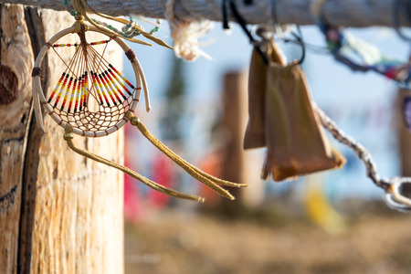 Dreamcatcher blowing in the wind at Medicine Wheel National Historic Landmark in Wyoming