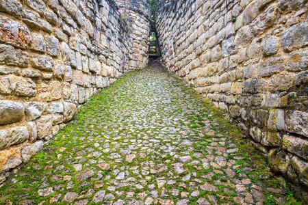 Narrow entrance ramp to the ruins of Kuelap near Chachapoyas, Peru