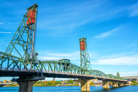 View of the Hawthorne Bridge in downtown Portland, Oregon over the Willamette River